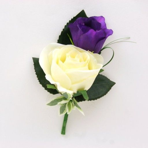 Artificial Silk Wedding Flowers - Purple and Ivory Buttonhole