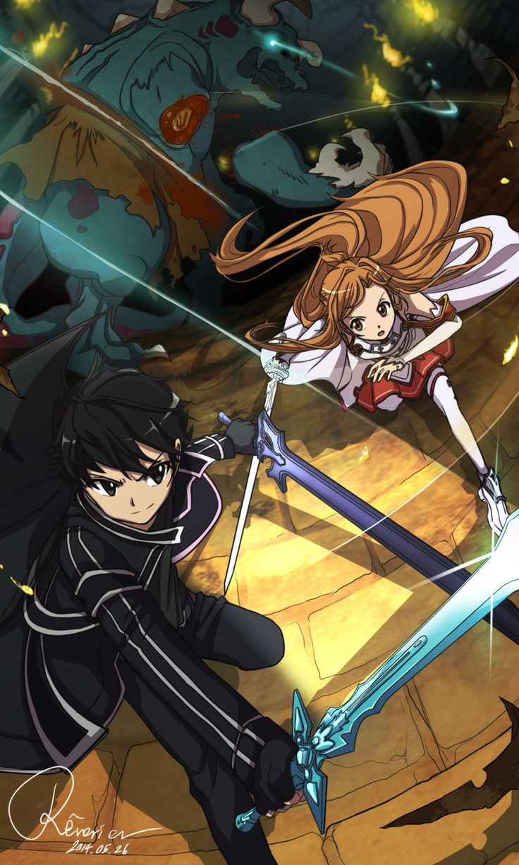 SAO - Kirito and Asuna being the awesome buttkickers they are!!