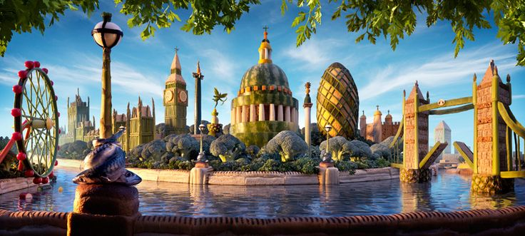 London Skyline made entirely out of food.