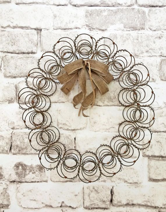 Rustic Bed Spring Wreath, Vintage Wreath, Shabby Chic Wreath, Southern Wreath, Country Wreath, Primitive Wreath, Antique Wreath, Farmhouse Wreath, Mattress Coils, Decor, Re-purposed, Old Rusty Wire Wreath, Decoration, by Adorabella Wreaths!