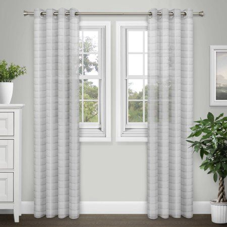Brinley Home Sabrina Grommet 84 inch Sheer Extra Wide Curtain Panel Pair, Silver