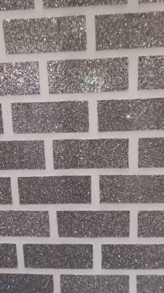 Glitter Brick Self Adhesive Wall Tiles Glitter Wall Murals Etsy Self Adhesive Wall Tiles Glitter Wall Glitter Paint For Walls