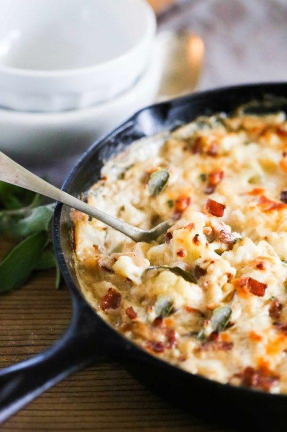 Cauliflower Gratin with Garlic and Sage...the perfect holiday side dish| www.feastingathome.com