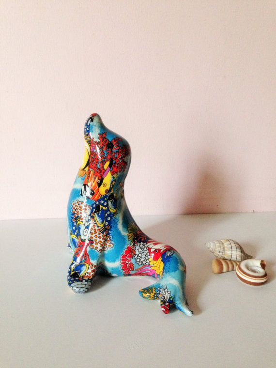 SEAL Beach DECOR Statue Decoupage fabric by AnnmarieFamilyTree