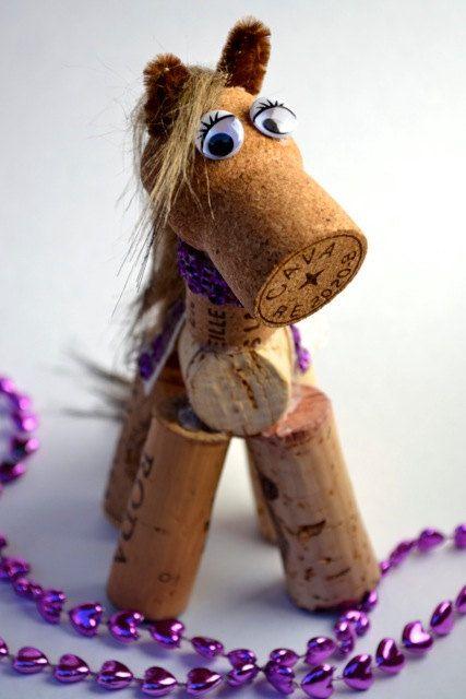 Horse Wine Cork - Pony Ornament Gift - Purple Saddle on Etsy, $12.00