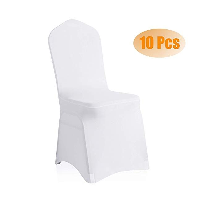 Saraflora 10 Pcs White Spandex Chair Covers Universal Stretch