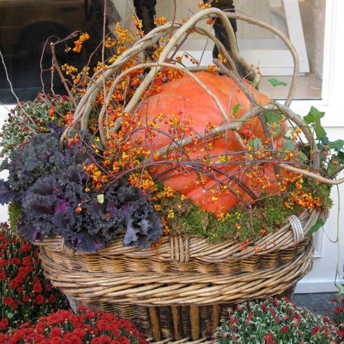 Knock Out Fall Container Garden. This huge fall container garden is one of the most imaginative and beautiful I have ever seen. The use of bittersweet, branches, moss, and ivy with the giant gourd and flowering kale is really a knock out.