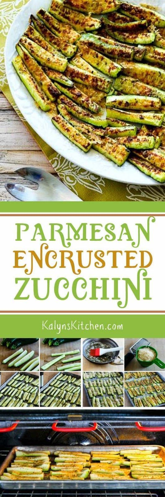 This easy Parmesan Encrusted Zucchini is one of The Top Ten Most Popular Low-Carb Zucchini Recipes from Kalyn's Kitchen, because who doesn't love zucchini + cheese! And this tasty recipe is also gluten-free, meatless, and South Beach Diet friendly. [found on KalynsKitchen.com]