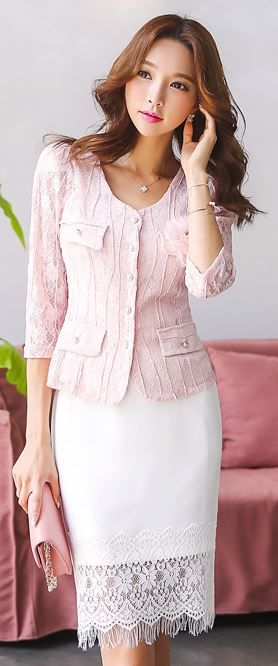StyleOnme_Lace Hem H-Line Skirt #white #lace #elegant #pretty #koreanfashion #skirt #summer #look #style