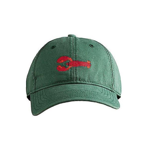 Lobster Needlepoint Hat Hats ($25) ❤ liked on Polyvore featuring accessories, hats, hunter green, harding lane hats, baseball cap, ball caps, baseball hats and strap hats