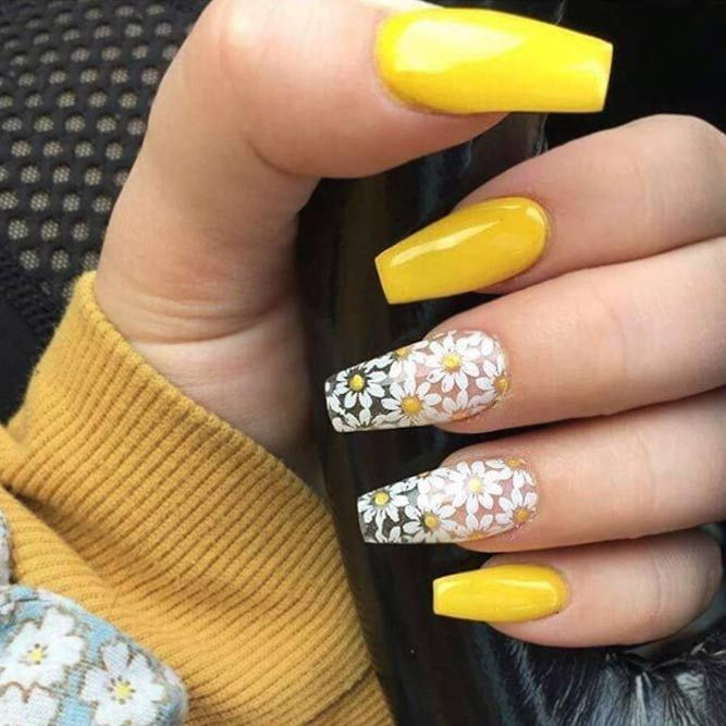Gorgeous Coffin Acrylic Nails Ideas Naildesignsjournal Com Yellow Nails Nails Coffin Nails Designs