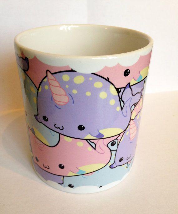 Narwhal mania mug, kawaii mug in pastel goth style colours, lolita, fairy kei, cute