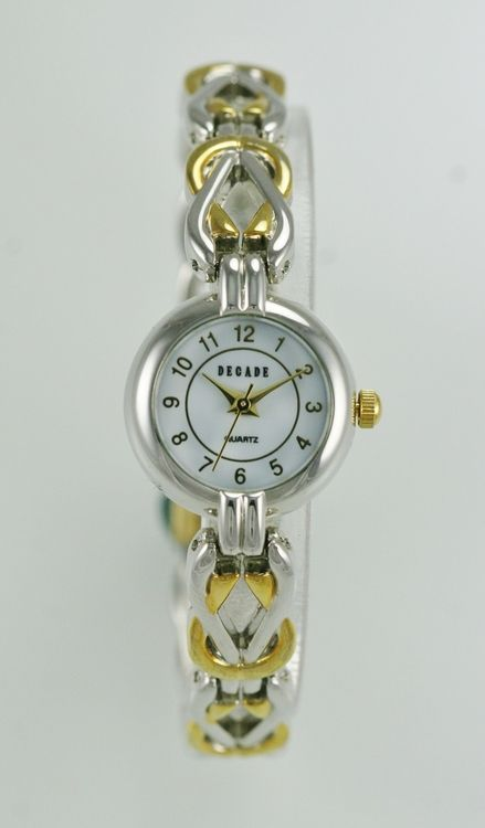 Decade Watch Womens White Stainless Steel Gold Silver Water Resistant Quartz