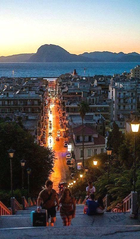 Late evening in the Port city of Patras, Peloponnese, Greece