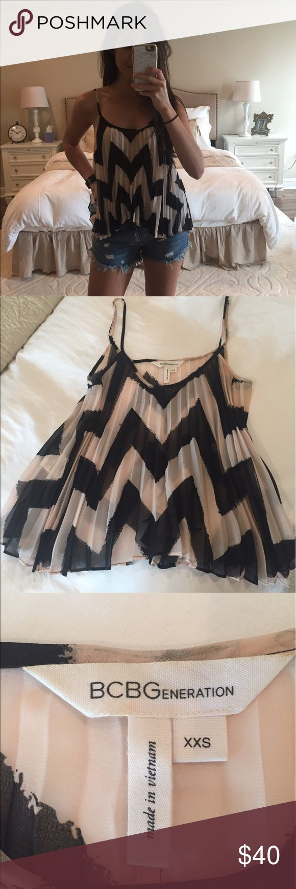 BCBG top Pleated flowy tank top with black and light pink chevron stripes. XXS but fits big, more like an XS or S. Adjustable straps BCBGeneration Tops Tank Tops