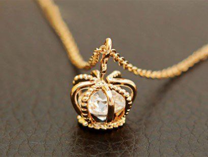 cute crown rhinestone necklace
