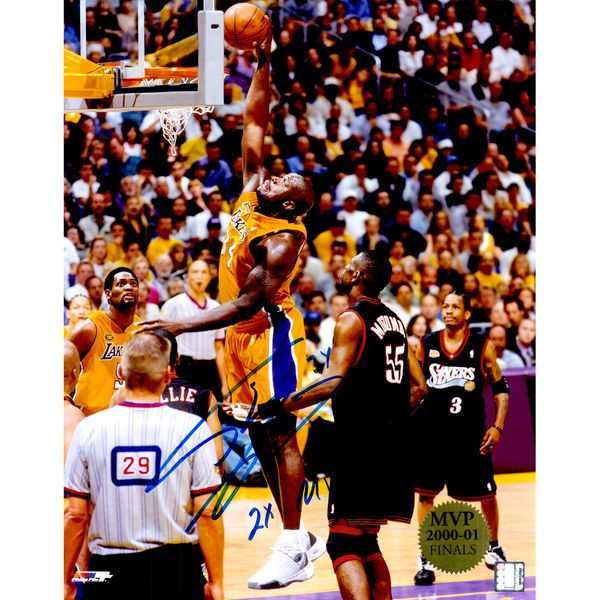 """Shaquille O'Neal Los Angeles Lakers Fanatics Authentic Autographed 16"""" x 20"""" Dunk Vs. 76ers Photograph with """"2x MVP"""" Inscription - $299.99"""