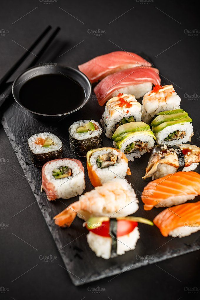 #Sushi rolls Different kinds of sushi roll. Japanese food.