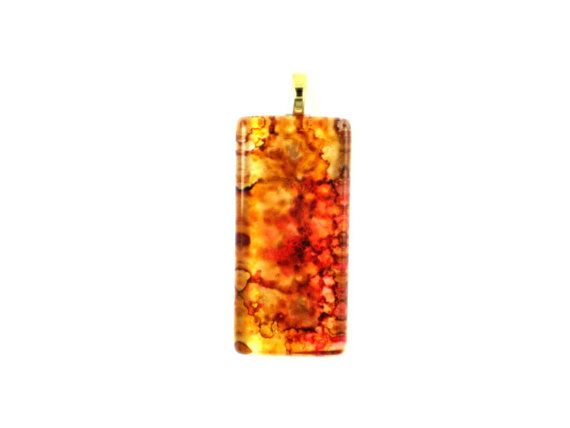 Gold Red One Of A Kind Glass Ink Pendant by CollectorsChild, $18.00