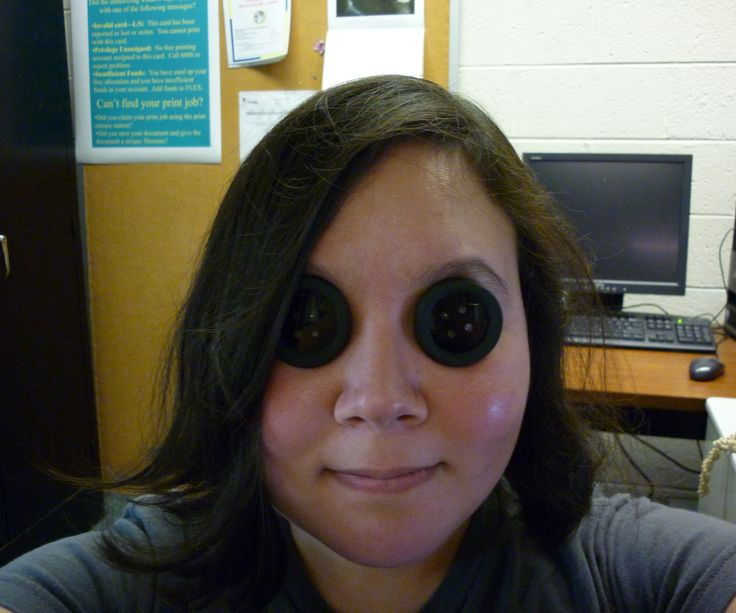 Last summer at a convention, I cosplayed as the Other Mother from Coraline, and my friend cosplayed as the Other Wybie. I cannot wear contacts, so I made myself some prescription button eyes, while I made my friend non prescription ones.  This is much better than using giant buttons which have very limited visibility.  My friend claims he had perfect vision out of his button eyes, while mine minimally hurt my vision (the prescription lenses had different clarity depending on what a...