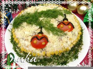 """Праздничный новогодний салат """"Еловая веточка"""""""