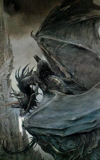 Middle-earth:  One of the Nazgûl. Also called Ringwraiths, Ring-wraiths, Black Riders, Dark Riders, the Nine Riders, or simply the Nine, they were nine Men who succumbed to Sauron's power and attained near-immortality as wraiths, servants bound to the power of the One Ring.: