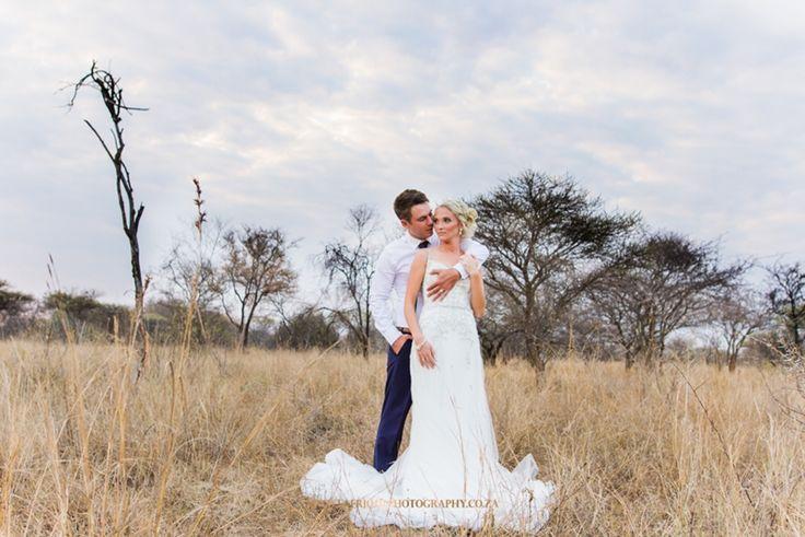 landscape photo in the bush veld wedding couple Janus & Christien Malan