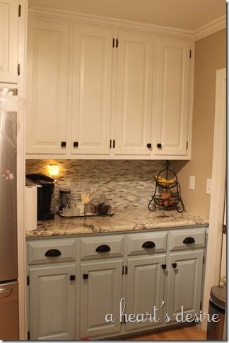 Cabinet Paint: Top, Behr Swiss Coffee Bottom, Benjamin Moore Gossamer Blue,  granite is Cosmos granite color Vintage.Need a sample of swiss coffee for  the ...