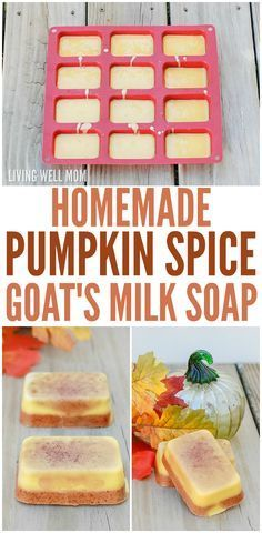 Homemade Pumpkin Spice Goat's Milk Soap - this DIY soap recipe is easy to make and smells just like pumpkin pie with essential oils and spices. It would make a wonderful homemade gift too! #naturalsoapmakingrecipes