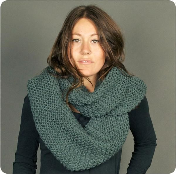 Infinity scarf, knit acrylic, 2-tone or solid color, hand made in Nepal