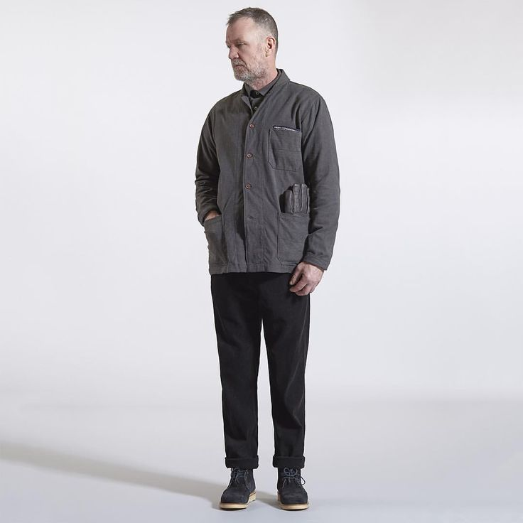 New pieces for aw15: classic and shawl collar overshirt in heavy cotton, aston pant in black cord, coast boot in suede, leather tor glove, pocket square #universalworks #nottingham #london #overshirt #work #chore #cotton #cord #overdye #suede #aw15