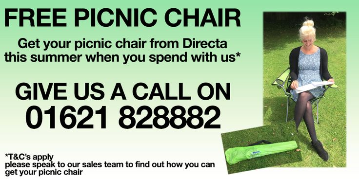 FREE PICNIC CHAIR, Give us a call on 01621 828882 to find out how to get yours!