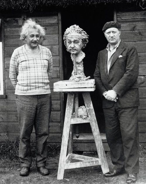 Albert Einstein and sculptor Jacob Epstein. The bust was completed in 3 days while Einstein was in hiding from the Nazis. Cromer, Norfolk. October 10, 1933