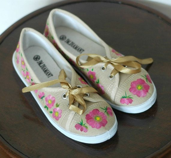 Hand painted sneakers size 36 wild roses by AKArtCrafts on Etsy