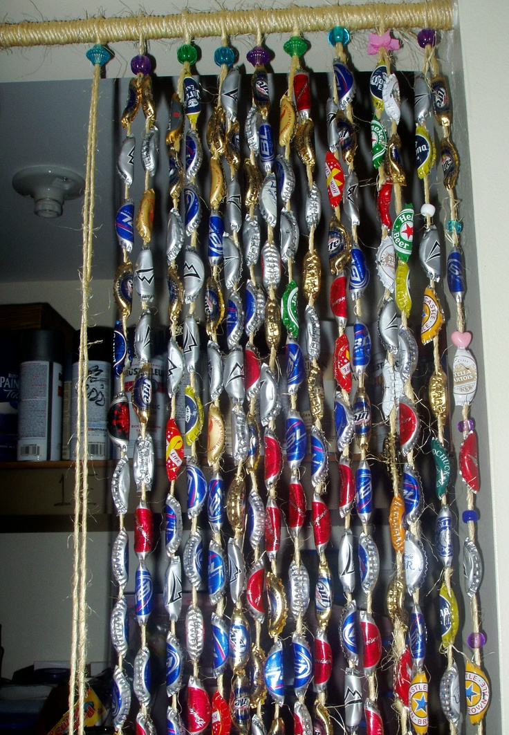 bottle cap door curtain I made from beer bottle caps and ...