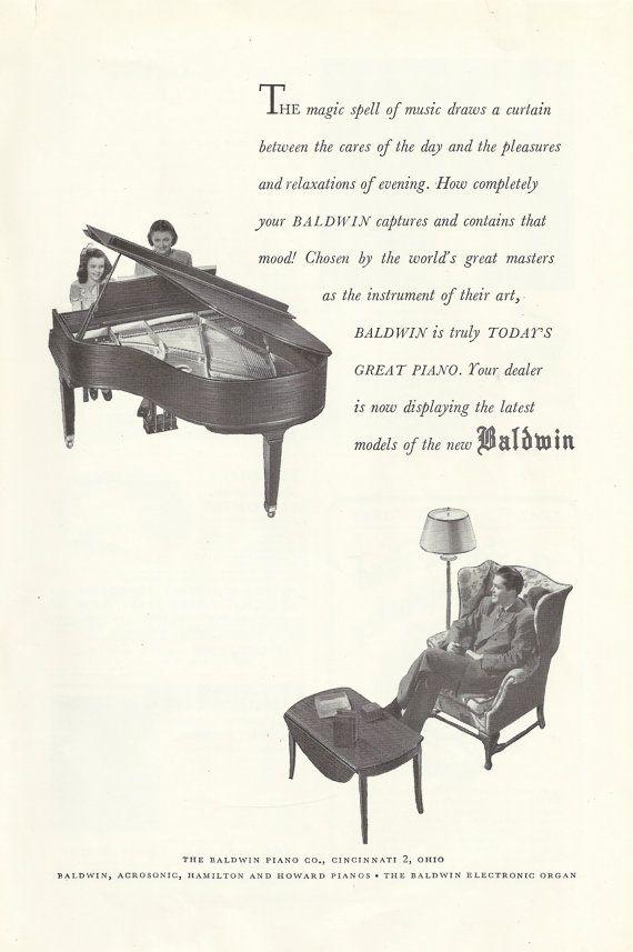 Baldwin Piano Original 1947 Vintage Print Ad by VintageAdarama, $9.99