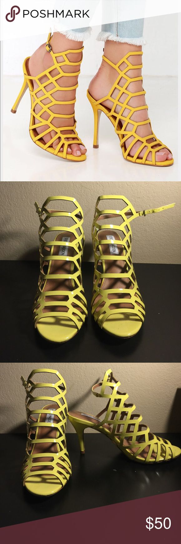 Steve Madden Slithur yellow strappy heels NEW NEW. Size 6.5. Never worn. Only tried on inside the house when I first got them. Sorry, no box because I didn't think I would sell them but I am willing to sell them with the reusable Steve Madden black bag. ***not exactly like the pair in the first picture. They have a lower heel and they are shiny yellow, not matte. Steve Madden Shoes Heels