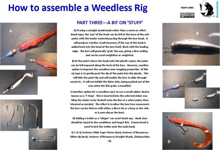 How to Assemble a Weedless Rig.  Part Three - A Bit on 'Stuff'.  In this part we discuss aspects of different hook types that can be used, options for sinkers and their placement, as well as a couple of popular alternative rigging methods.