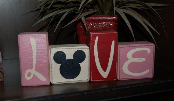 VALENTINES Day Primitive Blocks LOVE Mickey Mouse Ears Valentine Word Blocks Sign Distressed Stacking Shelf Blocks Home Decor