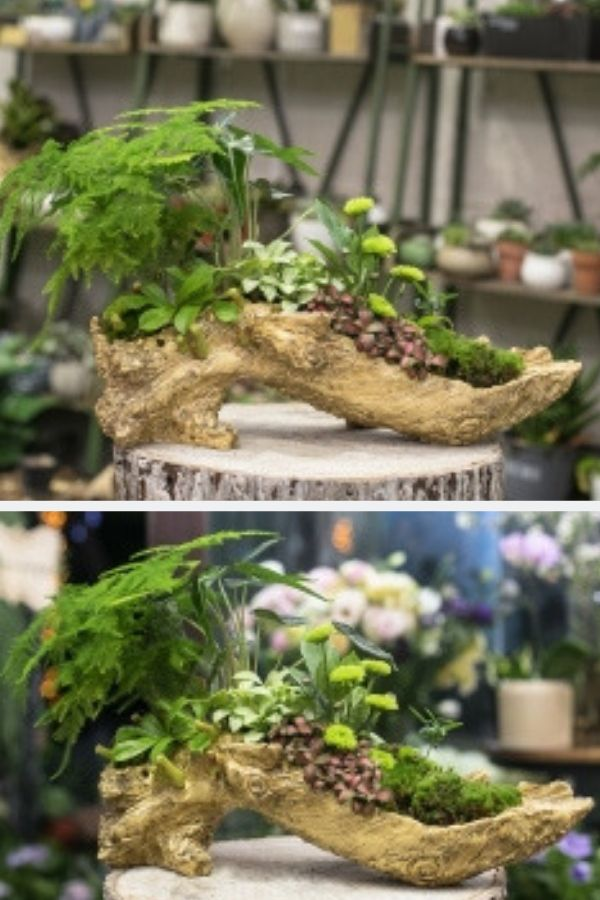 Artificial Driftwood S Shape Planter Resin Flower Pot Sculpture