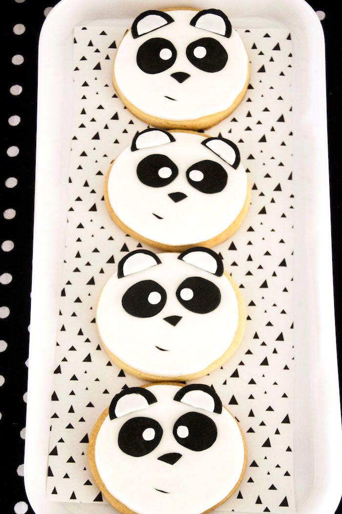 """Panda bear sugar cookies from Panda Bear """"Panda-monium"""" Birthday Party here at…"""