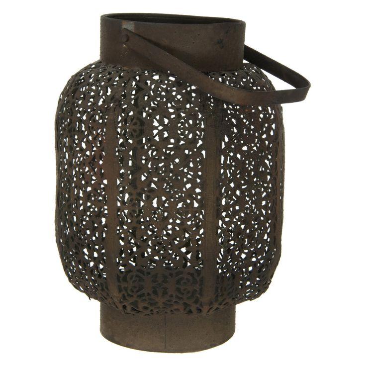 Oriental Furniture Wrought Iron Round Traditional Lantern - ID-LAMP8