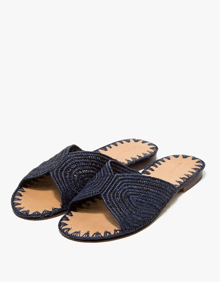 From Carrie Forbes, a minimalist sandal in Navy. Featuring a handwoven raffia upper, Italian leather sole, branded insole and a slightly stacked heel. • Sandal in Navy • Handwoven raffia upper • Italian leather sole • Branded insole • Slightly stac