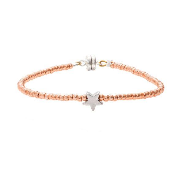 MINNIE GRACE Rose-Gold Beaded Star charm friendship bracelet | La Luce