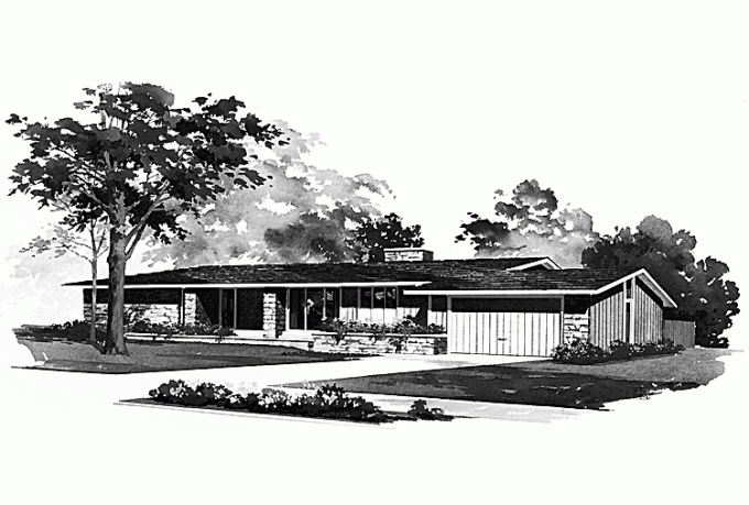 Hwepl00466 1 contemporary mid century modern ranch for Modern raised ranch house plans