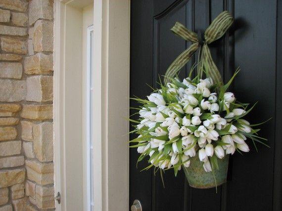Spring Tulips - Farmhouse TulipsDoors Today, Porches Decor Spring, Doors Wreaths, Front Doors Decor, Embrace Spring, Front Porches Hanging Decor, White Tulips, Spring Doors, Pretty Flower