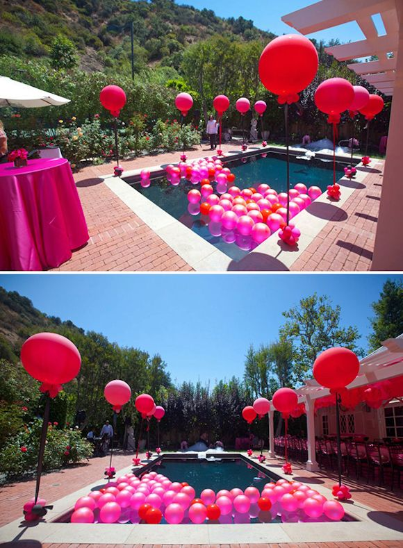 Swimming Pool Party Theme Ideas birthday balloon arch over a swimming pool backyard party decoration wwwdreamarkevents For The Pool Party Balloons Floating In It Would Look Cool And If They Had