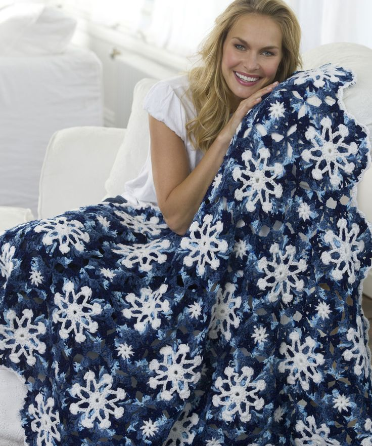 Dusty Snowflake Throw By Tammy Hildebrand - Free Crochet Pattern - (redheart)
