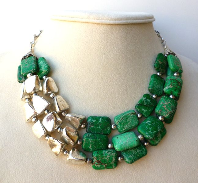 Triple Strand Green Imperial Jasper and Silver Statement Necklace