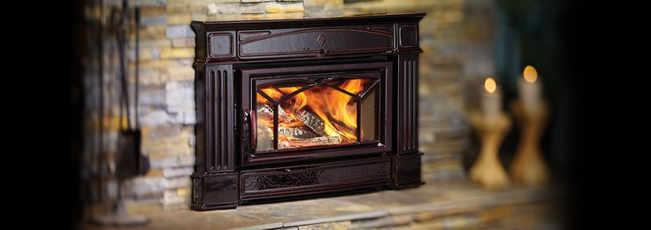 Hampton® HI400 Wood   Burning Fireplace Insert  Next generation of wood insert, with the ability to heat homes up to 2,600 square feet while meeting strict EPA standards. Shown with grille with timberline brown enamel finish